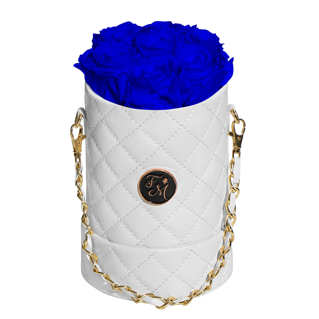 Royal Blue Roses - Quilted Box Bouquet - Small (White Box)