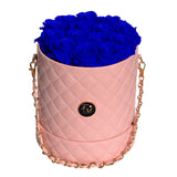Royal Blue Roses - Quilted Box Bouquet - Medium (Pink Box)