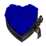 Royal Blue Roses - Heart Box Rose Bouquet - Medium (Black Box)
