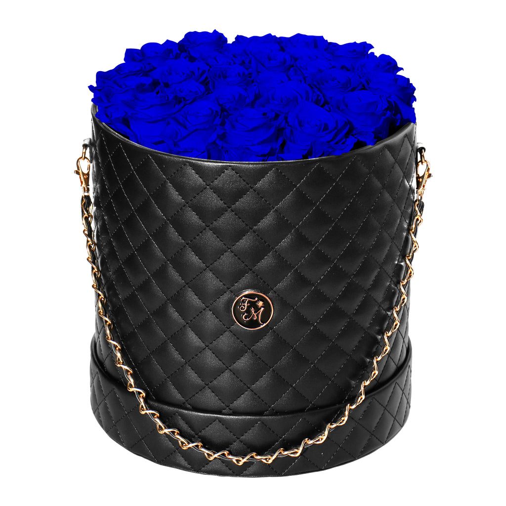 Royal Blue Roses - Quilted Box Bouquet - Large (Black Box)