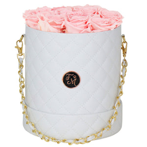Pink Roses - Quilted Box Bouquet - Medium (White Box)