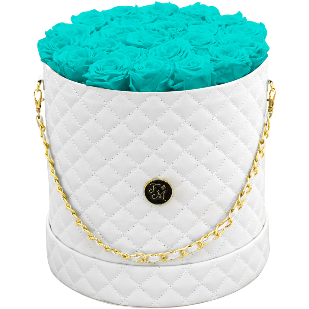 Aqua Blue Roses - Quilted Box Bouquet - Large (White Box)