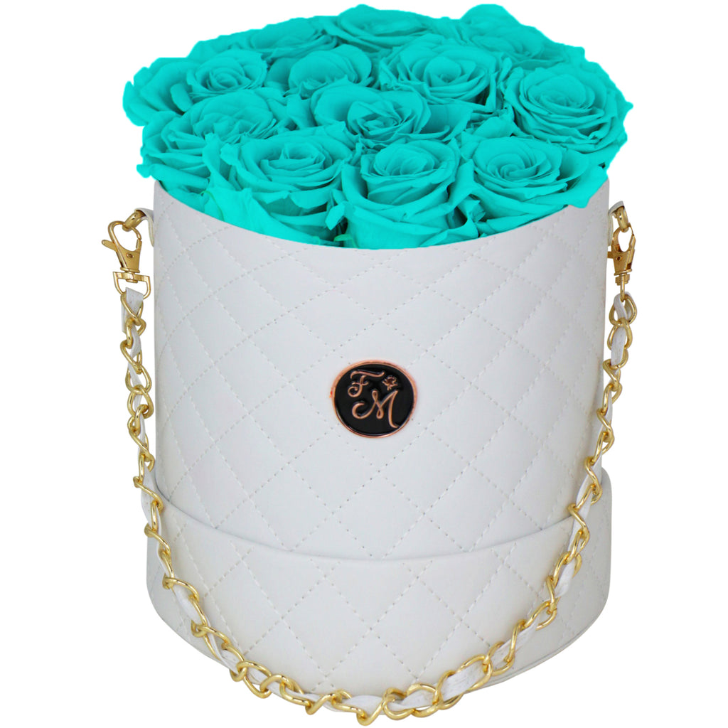 Aqua Blue Roses - Quilted Box Bouquet - Medium (White Box)
