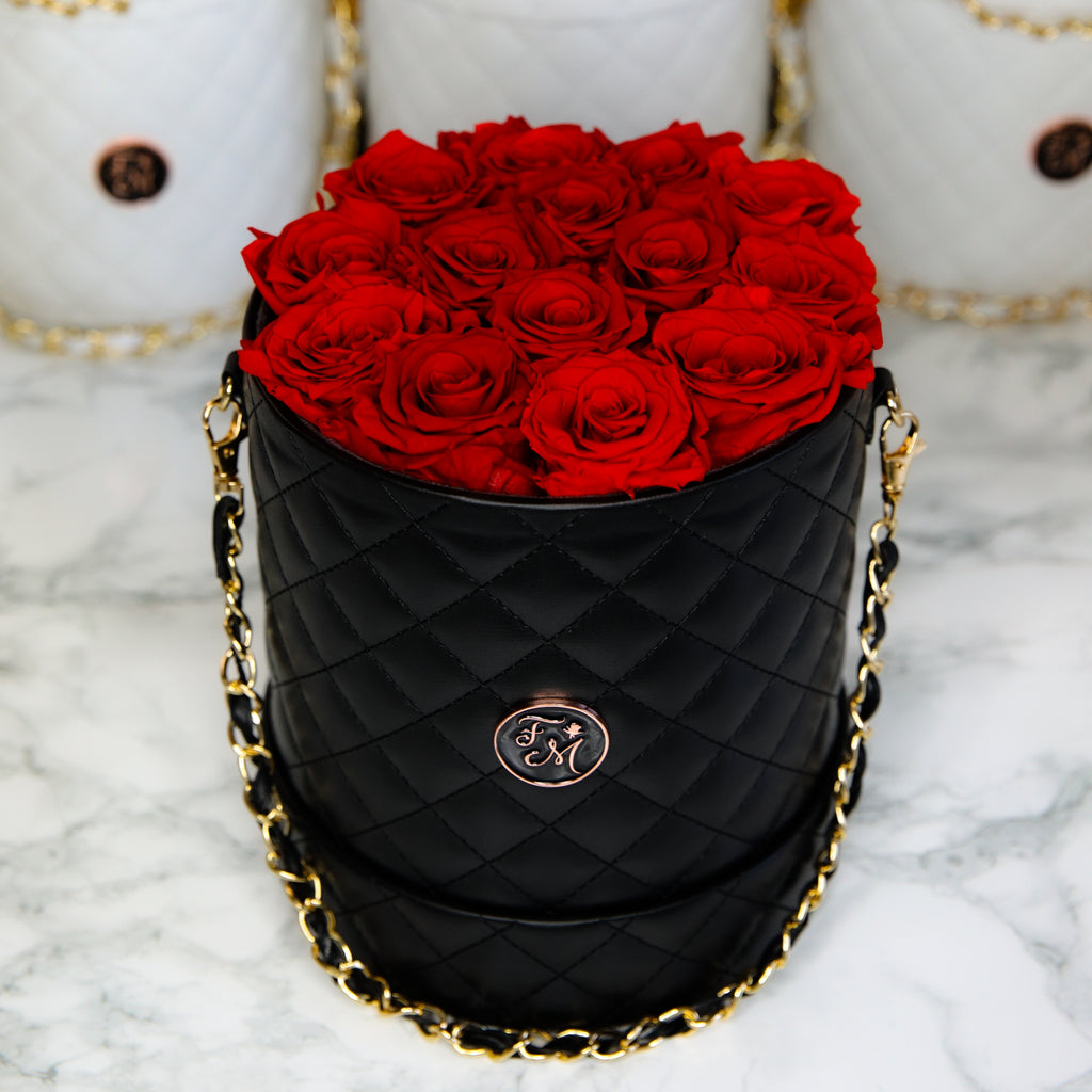 Red Roses - Quilted Box Bouquet - Medium (Black Box)