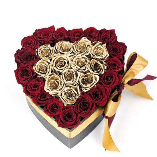 Red & Gold Roses - Heart Box Rose Bouquet - Medium (Black Box)