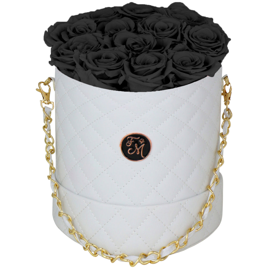 Black Roses - Quilted Box Bouquet - Medium (White Box)