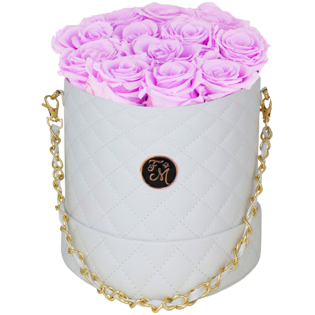 Cherry Blossom Roses - Quilted Box Bouquet - Medium (White Box)