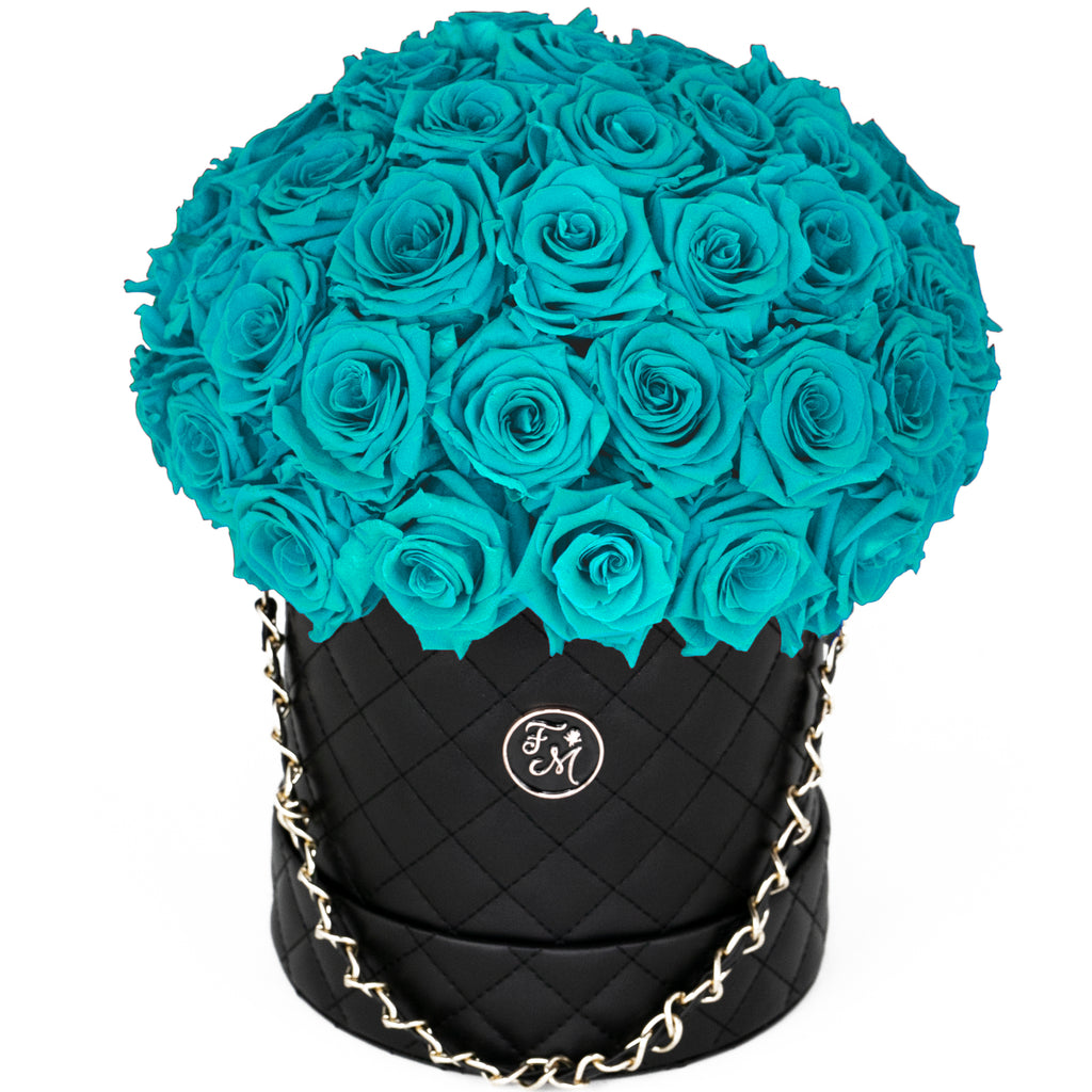 Aqua Blue Roses - Quilted Box Dome Bouquet - Medium (Black Box)