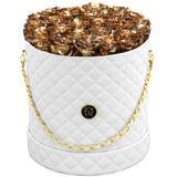 Gold Roses - Quilted Box Bouquet - Large (White Box)