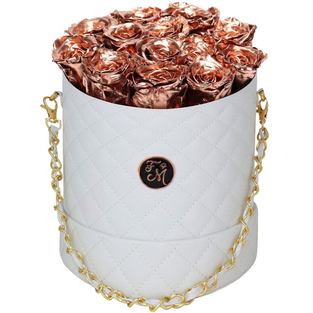 Rose Gold Roses - Quilted Box Bouquet - Medium (White Box)