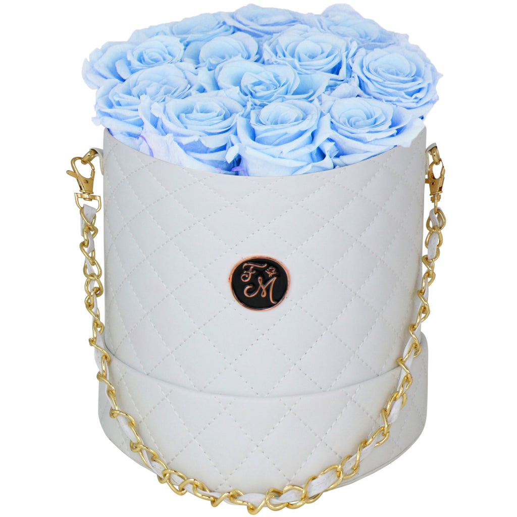 Light Blue Roses - Quilted Box Bouquet - Medium (White Box)