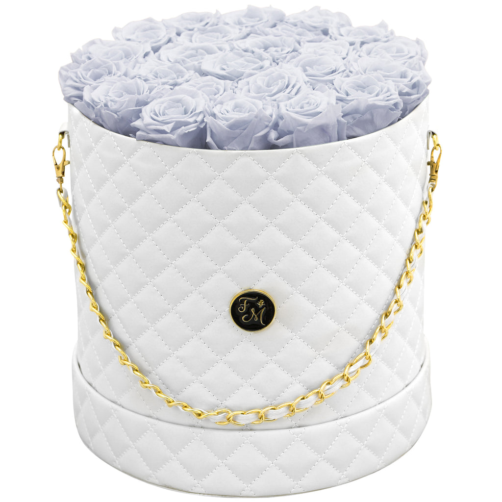 Periwinkle Roses - Quilted Box Bouquet - Large (White Box)
