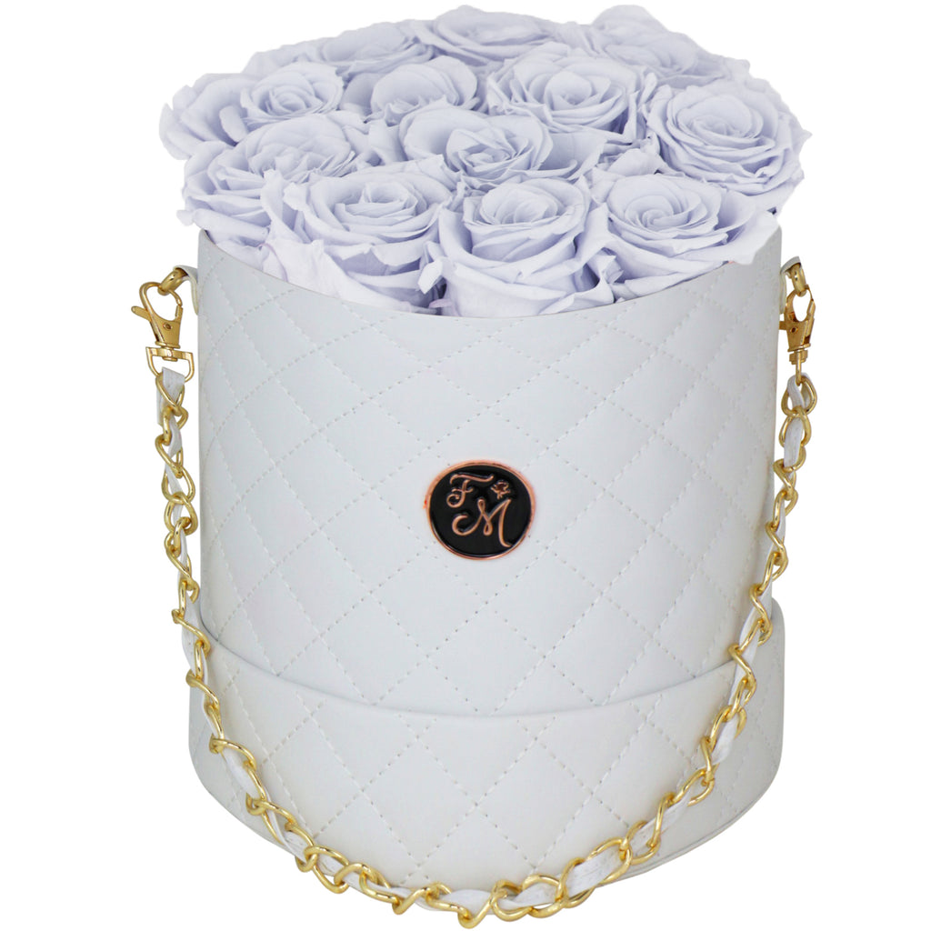 Periwinkle Roses - Quilted Box Bouquet - Medium (White Box)