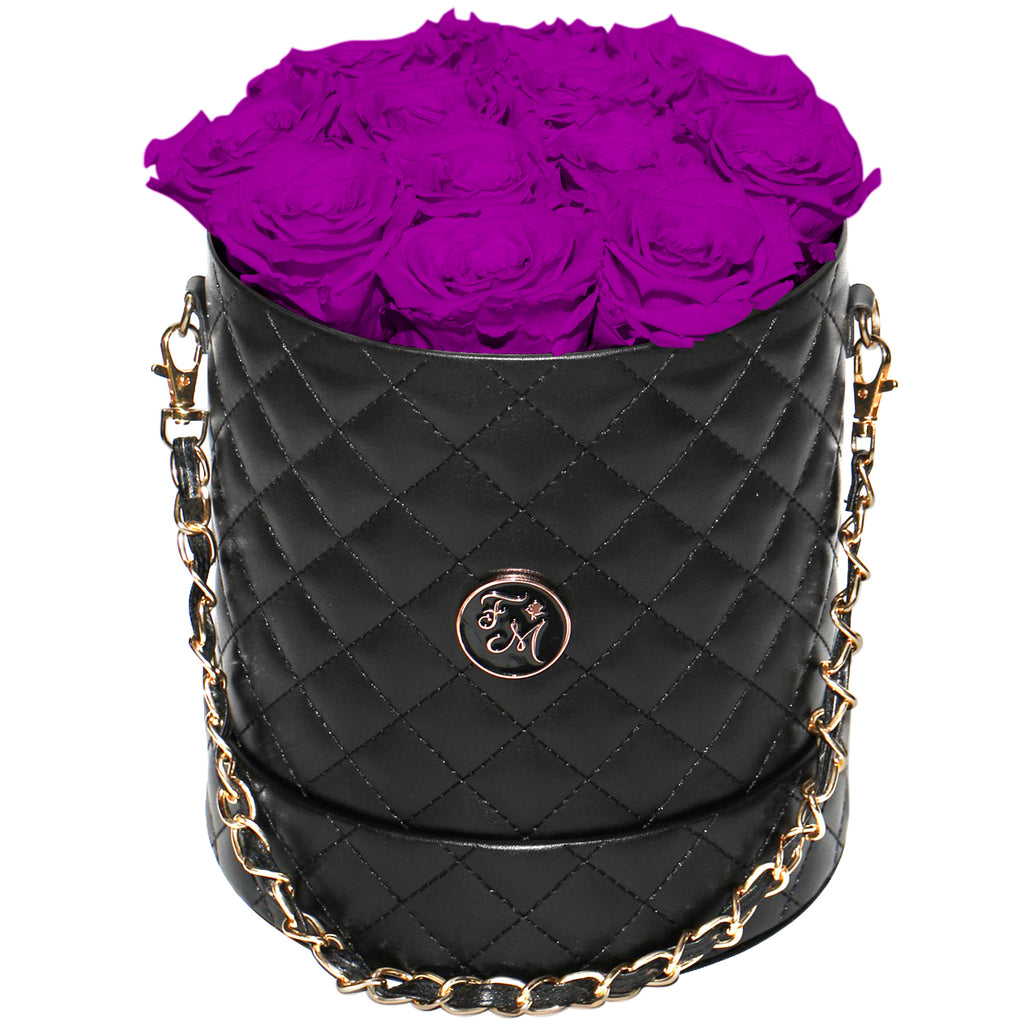 Plum Roses - Quilted Box Bouquet - Medium (Black Box)