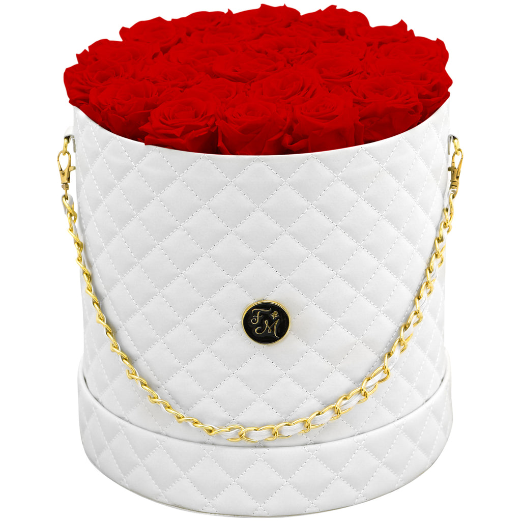 Red Roses - Quilted Box Bouquet - Large (White Box)