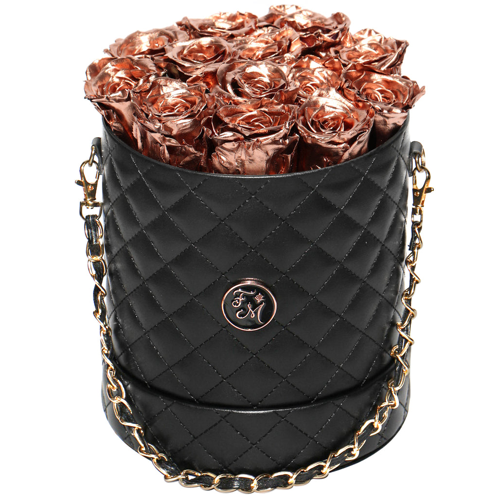 Rose Gold Roses - Quilted Box Bouquet - Medium (Black Box)