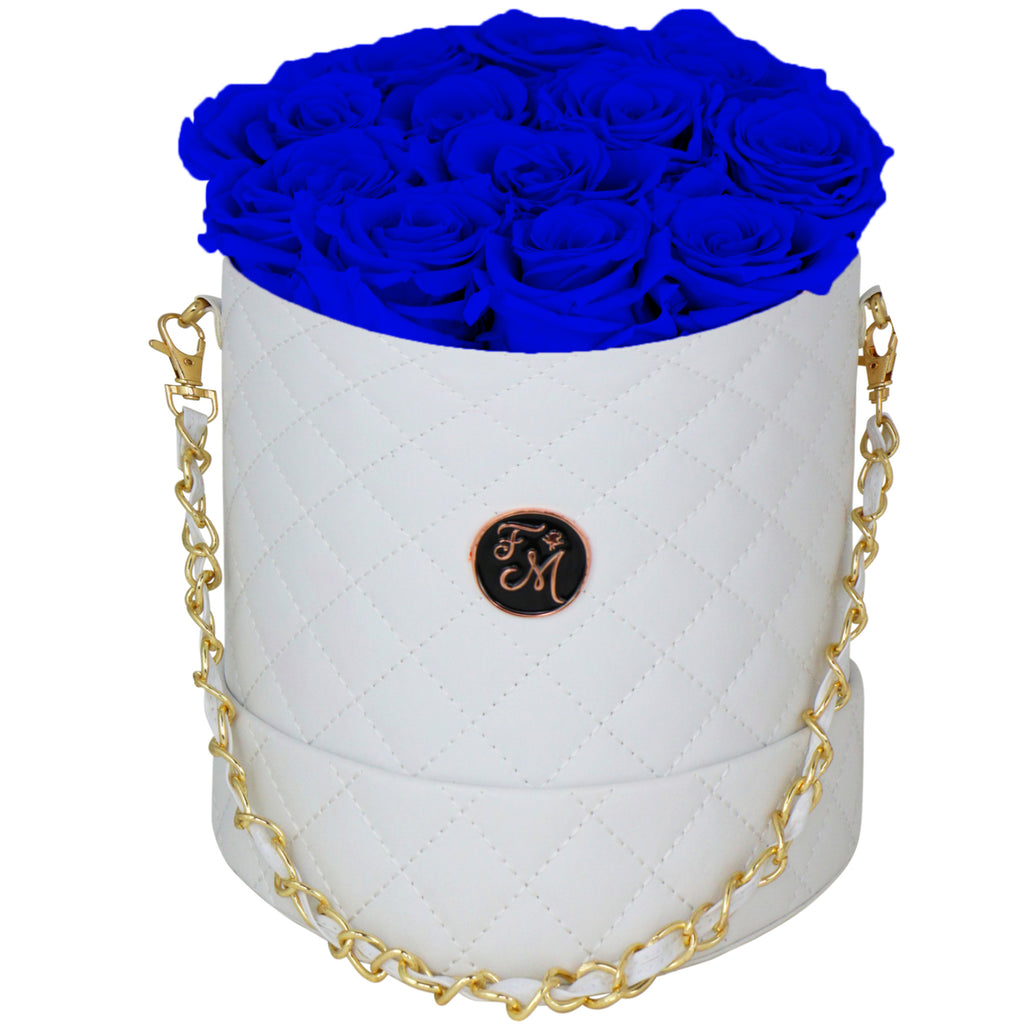 Royal Blue Roses - Quilted Box Bouquet - Medium (White Box)