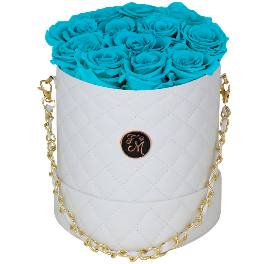 Turquoise Blue Roses - Quilted Box Bouquet - Medium (White Box)