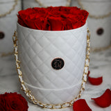 Red Roses - Quilted Box Bouquet - Medium (White Box)
