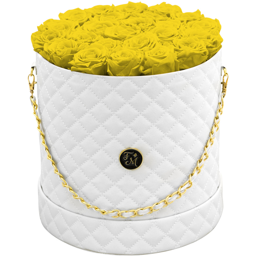 Yellow Roses - Quilted Box Bouquet - Large (White Box)
