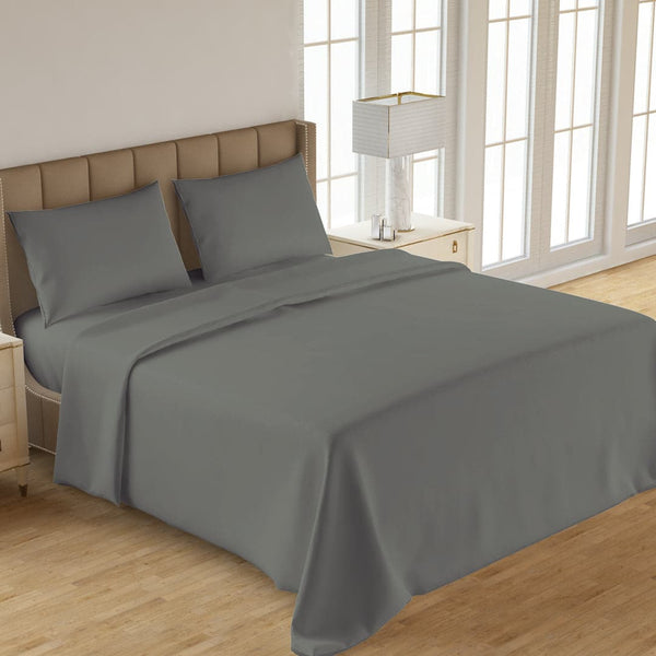 PLAIN 3PCS  DYED BED SHEET GRAY
