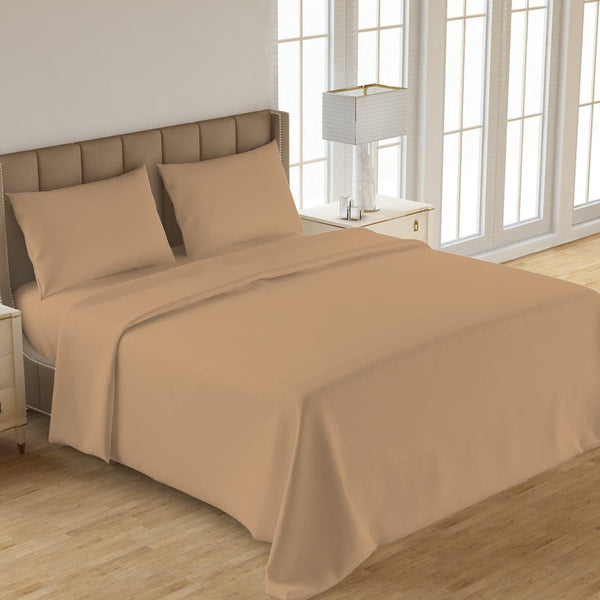 PLAIN 3PCS  DYED BED SHEET FAWN
