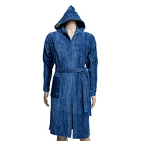 REDCARPET TURKISH BATHROBE (HOODED) BLUE