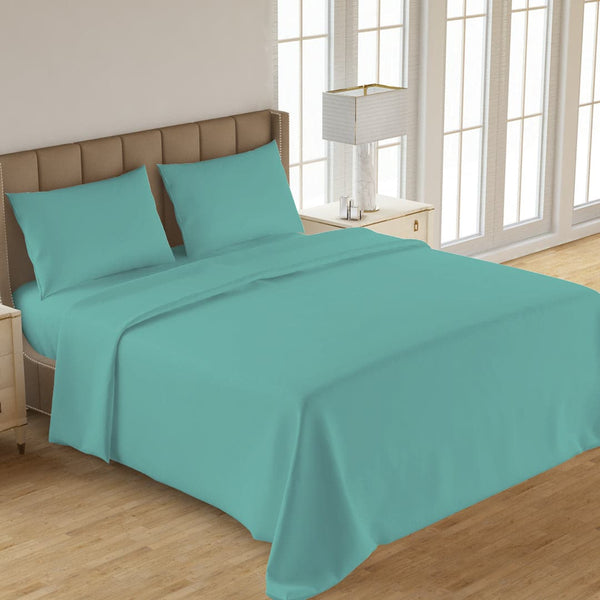PLAIN 3PCS  DYED BED SHEET TURQUOISE