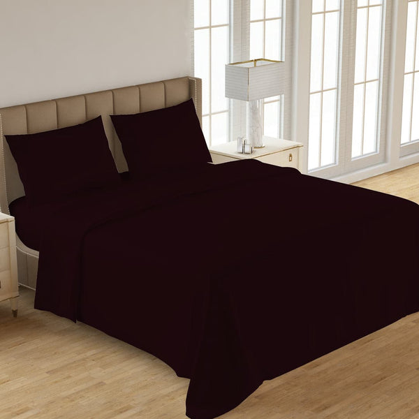 PLAIN 3PCS  DYED BED SHEET  BROWN
