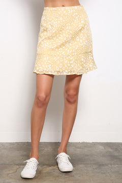 Yellow Animal Print Mini Skirt