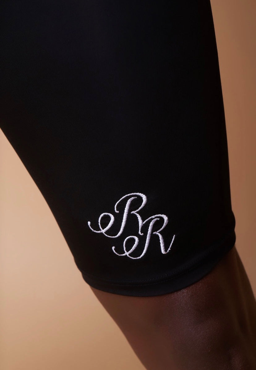 "Black and White Embroidered ""RR"" Brief"