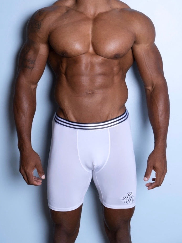 "White Embroidered ""RR"" Boxer Brief"