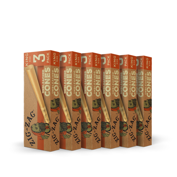 6 Pack Unbleached Cones - King