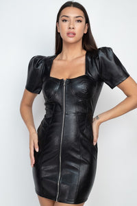 PU LEATHER MINI DRESS