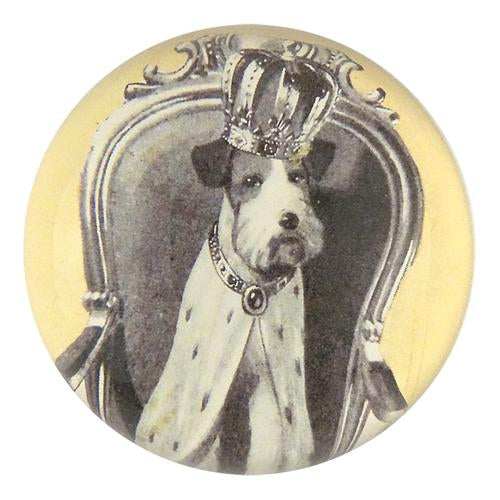 John Derian Crowned Dog Domed Paperweight