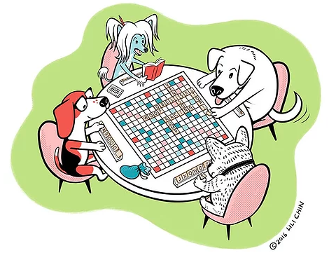 Dogs Playing Scrabble Print