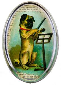 John Derian Pug Conductor Oval Paperweight