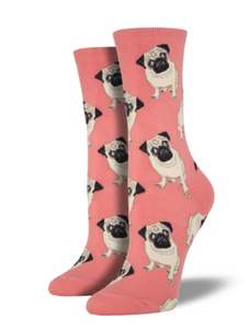 Women's Pug Socks - Peach