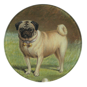 John Derian Pug and Ball Round Trinket Tray