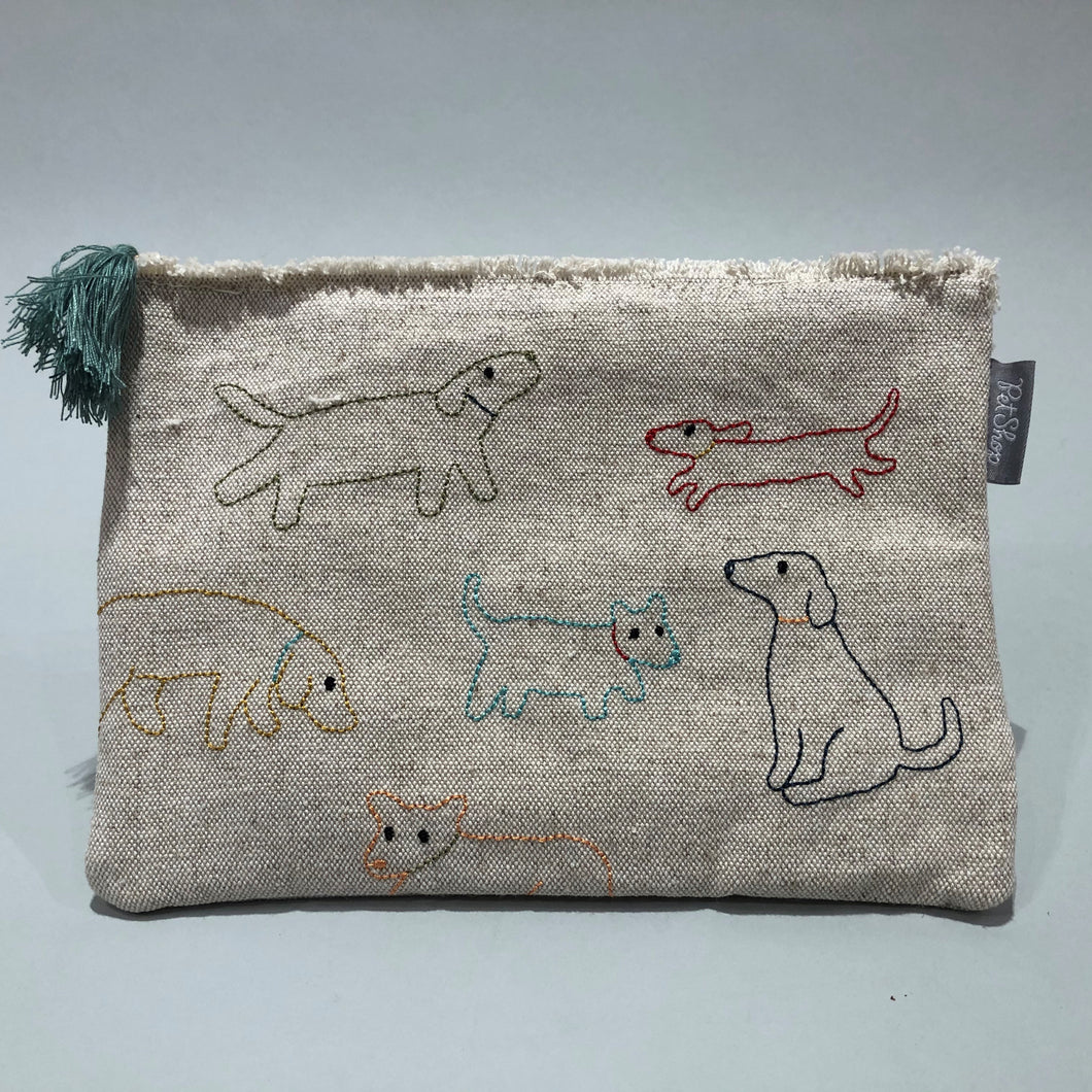 Stitched Dogs Canvas Pouch