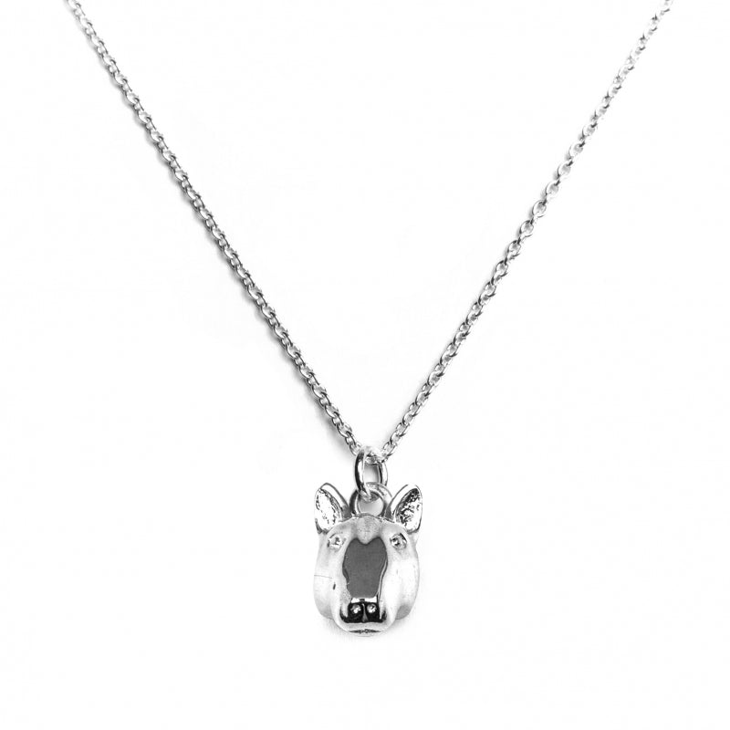 Bull Terrier Dog Fever Sterling Silver Head Pendant