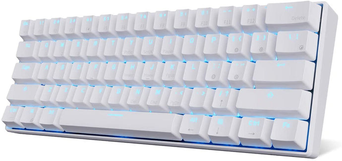 RK ROYAL KLUDGE RK61 Wireless 60% Mechanical Gaming Keyboard, Ultra-compact Bluetooth Mechanical Keyboard with 10 Hours Battery Life and Blue Switches, Reliable Fast Actuation Compatible for Multi-device Connection