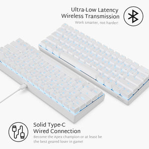 RK ROYAL KLUDGE RK61 Wireless 60% Mechanical Gaming Keyboard, Ultra-compact browntooth Mechanical Keyboard with 10 Hours Battery Life and brown Switches, Reliable Fast Actuation Compatible for Multi-device Connection