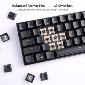 RK ROYAL KLUDGE RK61 Wireless 60% Mechanical Gaming Keyboard, Ultra-compact Bluetooth Mechanical Keyboard with 10 Hours Battery Life and Brown Switches, Reliable Fast Actuation Compatible for Multi-device Connection