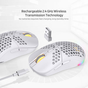 Mosh Pit RGB Wireless Gaming Mouse with Ultra Lightweight Honeycomb Shell, Adjustable 16,000 DPI, Ergonomic Shape for Right or Left Hand Use, Comfortable 2.4G Mice