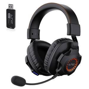 SoundSlave 2.4G Wireless/Wired Gaming Headset, Detachable Noise Canceling Microphone, Orange LED Light Headphones