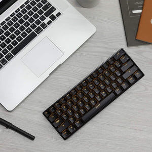 RK ROYAL KLUDGE RK61 Wireless 60% Mechanical Gaming Keyboard, Ultra-Compact Bluetooth Keyboard with Tactile Brown Switches, Compatible for Multi-Device Connection, Black