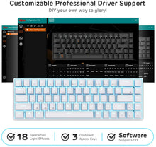 Load image into Gallery viewer, RK68 65% Wireless Gaming Keyboard, Compact Bluetooth Mechanical Keyboard with Gateron Blue Switch and Stand-Alone Arrow/Control Keys, Compatible for Multi-Device Connection