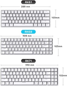RK68 65% Wireless Gaming Keyboard, Compact Bluetooth Mechanical Keyboard with Gateron Blue Switch and Stand-Alone Arrow/Control Keys, Compatible for Multi-Device Connection