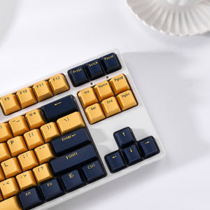 LavaCaps PBT 104 Keycaps Set, Thick PBT Keycaps for Mechanical Keyboard - Blue & Yellow Contrast